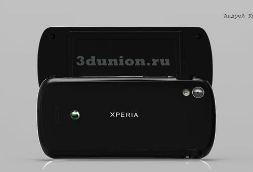Sony Ericsson Xperia Pro Black. 3D модель.