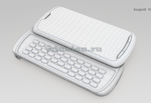 Рендеринг сетки 3D модели сотового телефона.
