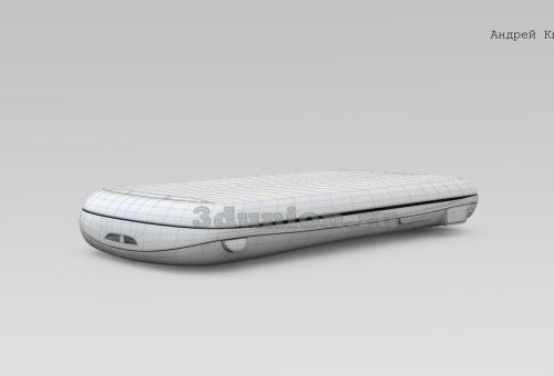 Полигональная сетка модели сотового телефона.